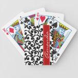 Blanco e impresión con monograma de los elementos  baraja de cartas