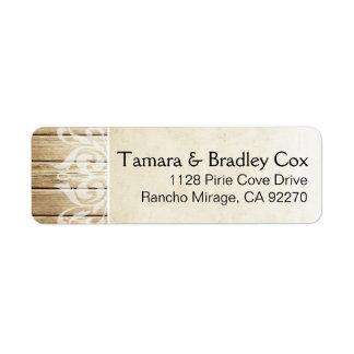 Blanco el | rubio afiligranado de madera rústico etiqueta de remite