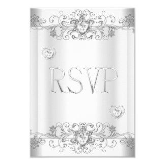 """Blanco elegante de la plata del oro del invitación 3.5"""" x 5"""""""