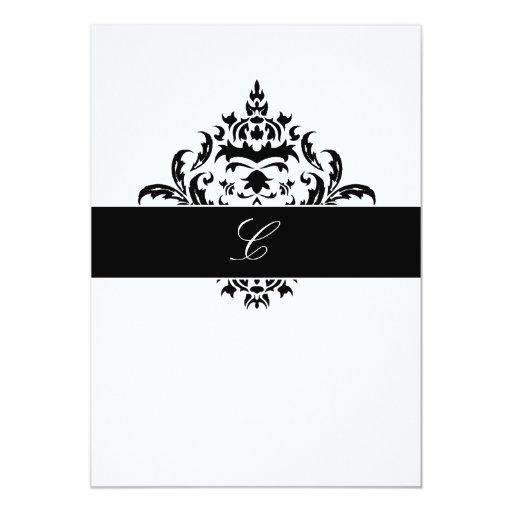 """blanco elegante del damasco 311-Simplisticly Invitación 5"""" X 7"""""""