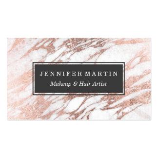 Blanco elegante elegante y modelo color de rosa tarjetas de visita