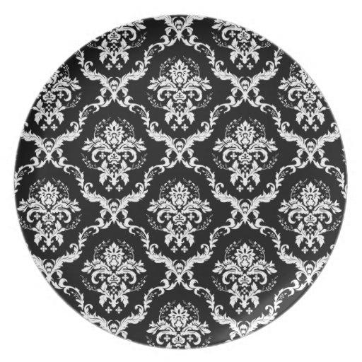Blanco elegante en el damasco negro plato de comida