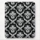 Blanco elegante en el damasco negro alfombrillas de ratón