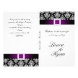 Blanco elegante púrpura del programa del boda de l tarjetas publicitarias