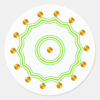 Blanco elegante y zigzag verde elegante de los pegatina redonda