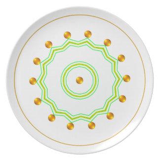 Blanco elegante y zigzag verde elegante de los plato