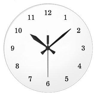 Blanco en blanco básico con números negros reloj redondo grande