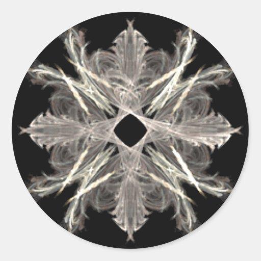 Blanco en diseño negro del arte del fractal pegatina redonda