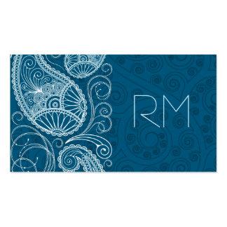 Blanco en diseño retro azul del modelo de Paisley Tarjetas De Visita