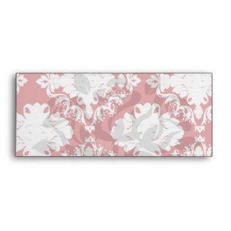 blanco en diseño romántico rojo del damasco sobres