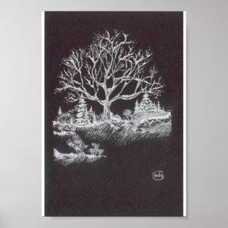 Blanco en el dibujo negro del paisaje del invierno póster