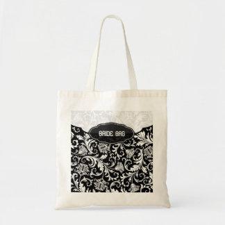 Blanco en el modelo floral negro 2-Monogram del da Bolsa Tela Barata