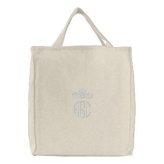 Blanco en el monograma blanco con el bolso bordado bolsas