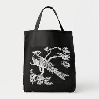 Blanco en el tote bosquejado negro del bolsa tela para la compra