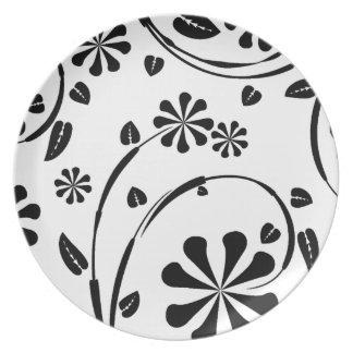 Blanco en estampado de plores negro de la margarit platos para fiestas