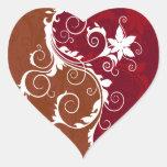Blanco en Grunge floral rojo Colcomanias De Corazon Personalizadas