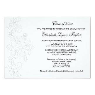 Blanco en la invitación blanca de la graduación