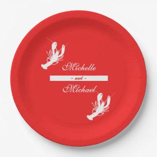 Blanco en las placas rojas del acontecimiento de plato de papel de 9 pulgadas