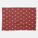 Blanco en lunares rojos toalla de cocina