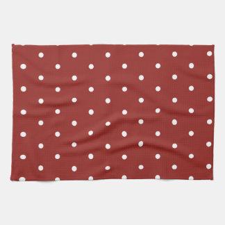 Blanco en lunares rojos toallas de cocina