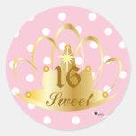 Blanco en lunares rosados, dulce, 16 Sticker-Cust. Pegatina Redonda