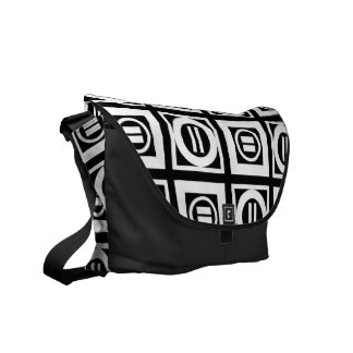 Blanco en modelo geométrico negro del signo de bolsa messenger