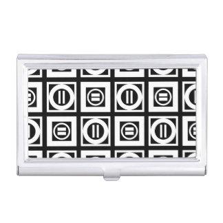 Blanco en modelo geométrico negro del signo de caja de tarjetas de presentación