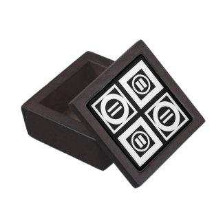 Blanco en modelo geométrico negro del signo de cajas de regalo de calidad