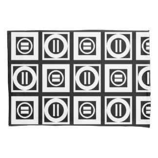 Blanco en modelo geométrico negro del signo de funda de cojín