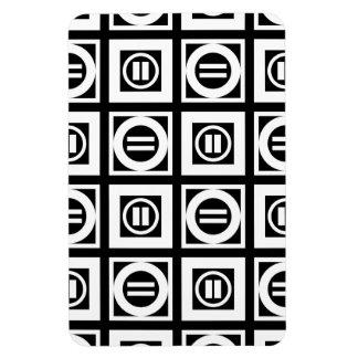 Blanco en modelo geométrico negro del signo de imán rectangular