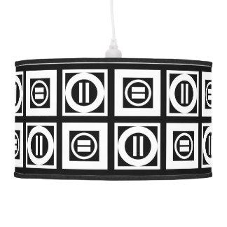 Blanco en modelo geométrico negro del signo de lámpara de techo