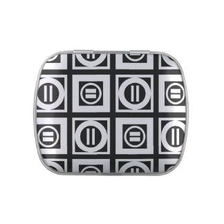 Blanco en modelo geométrico negro del signo de latas de dulces