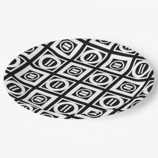 Blanco en modelo geométrico negro del signo de plato de papel de 9 pulgadas