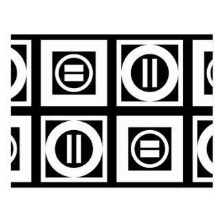Blanco en modelo geométrico negro del signo de postales