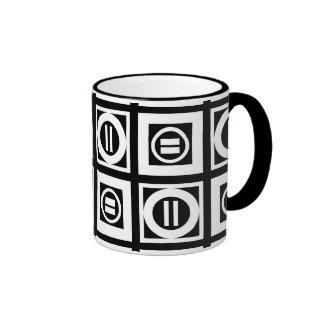 Blanco en modelo geométrico negro del signo de taza a dos colores