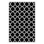 Blanco en Quatrefoil negro Papelería Personalizada