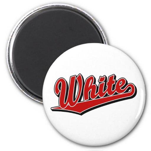 Blanco en rojo imán redondo 5 cm