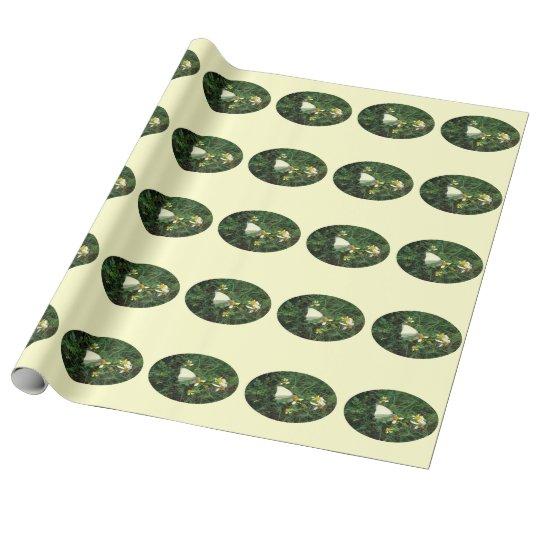 Blanco en verde papel de regalo