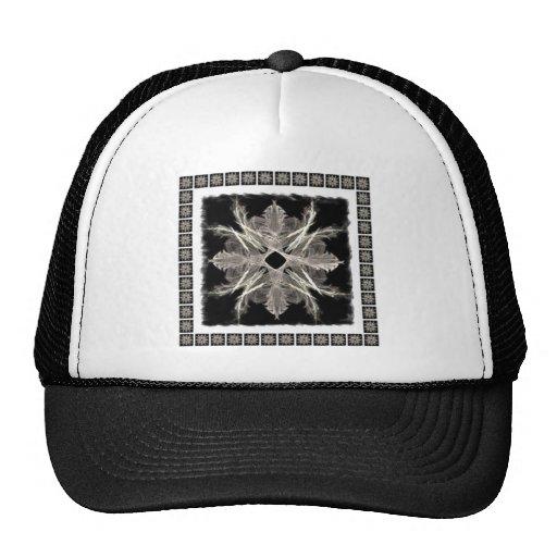 Blanco enmarcado en diseño negro del arte del frac gorra