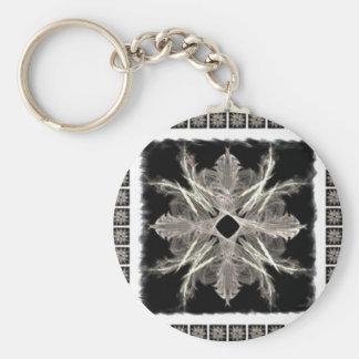 Blanco enmarcado en diseño negro del arte del frac llavero redondo tipo pin
