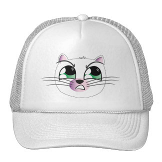 Blanco enojado del gorra del gato