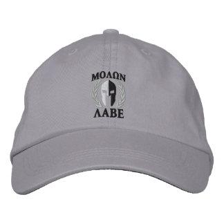 Blanco espartano del negro de los laureles del gorra de beisbol