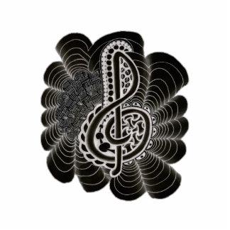 Blanco estilizado en Doodle negro de la música del Escultura Fotografica