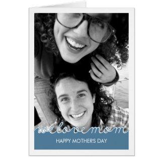 Blanco feliz de los azules marinos de la mamá del tarjeta de felicitación