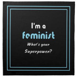 Blanco feminista del lema de la superpotencia en servilleta imprimida