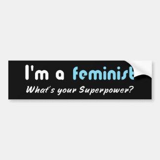 Blanco feminista del lema del superpoder en negro pegatina para auto