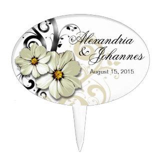 Blanco floral adornado del Flourish el | del Figuras De Tarta