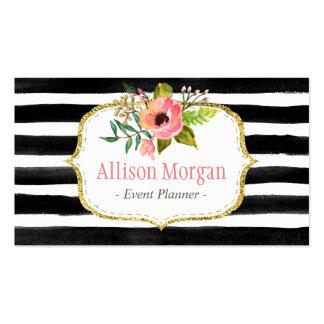 Blanco floral con clase del negro de la acuarela tarjetas de visita