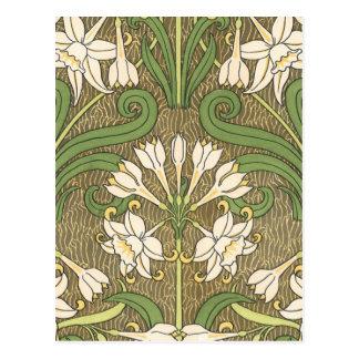 Blanco floral de Deco Tarjeta Postal
