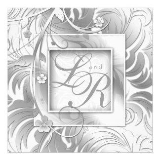 Blanco floral de la plata metalizada del boda eleg invitaciones personales